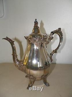 Wallace Baroque Silverplate Tea Set Coffee & Tea Pot Cream & Sugar