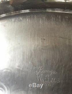 Wallace Baroque Tea Coffee set with large Baroque under tray & Sugar + Creamer