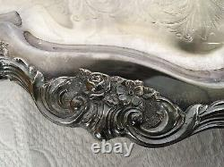 Wallace Rose Point #1200 Silver Plate 6 Piece Coffee/Tea Set With Tray