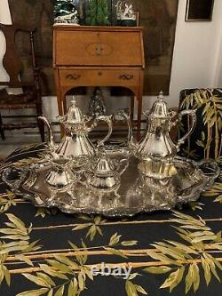 Wallace Rose Point #1200 Silver Plate 6 Piece Coffee/Tea Set With Tray, Stunning
