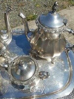 Webster Wilcox Silver Plate, Tea, Coffee, Cream, Sugar