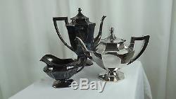 Wilcox Silver Plate 3 Pc Art Deco Set Creamer Coffee & Tea Pot