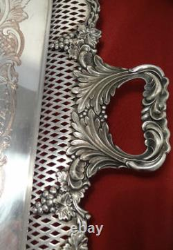 William Adams English Silver Plated Reticulated Grapes Tea Set WAITER Tray